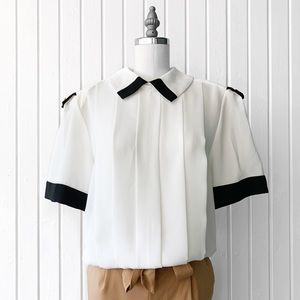 Vintage 80s White and Black Top Blouse